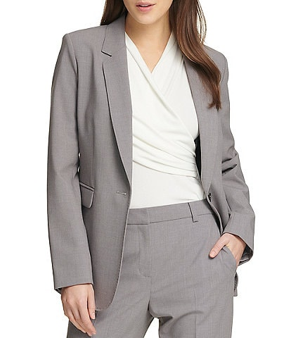 DKNY Long Sleeve Notch Lapel One Button Jacket