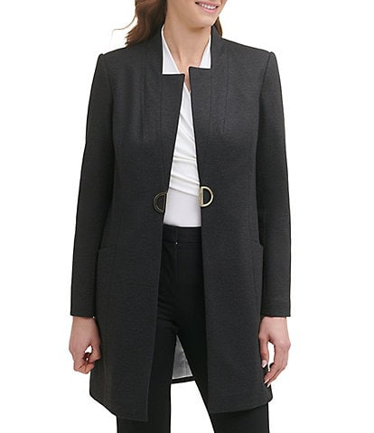 DKNY Long Sleeve Notched Collar Front Hook Mid Length Topper