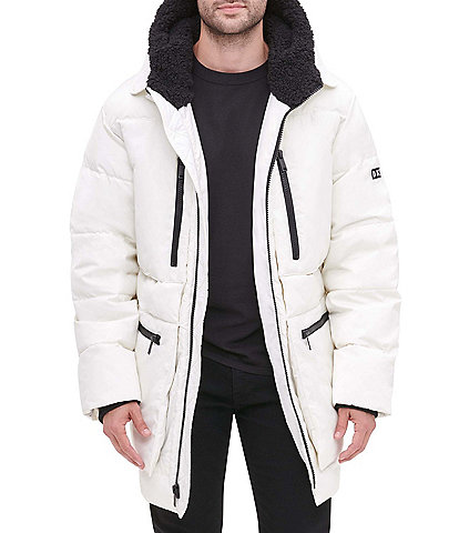DKNY Long-Sleeve Oversized Sherpa Lined Hood Zip Front Puffer Jacket