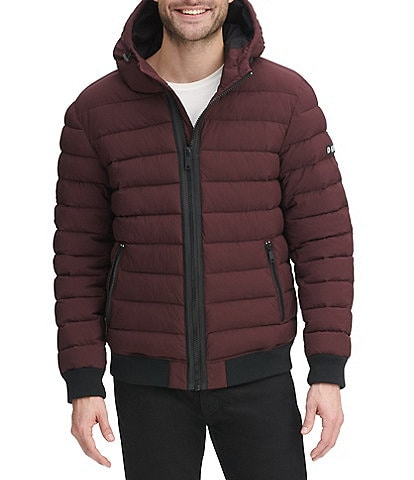 DKNY Long-Sleeve Quilted Hooded Bomber Jacket