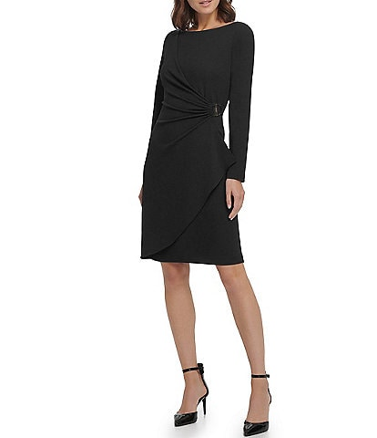 DKNY Long Sleeve Side Ruched Knit Jersey Sheath Dress