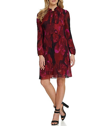 DKNY Long Sleeve Tie Neck Floral Chiffon Pleated Shift Dress