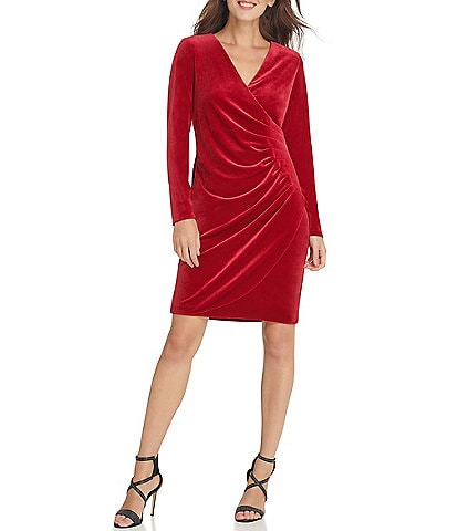 DKNY Long Sleeve V-Neck Side Ruched Velvet Sheath Dress