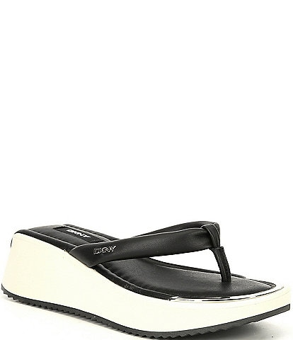 DKNY Maeryn Leather Thong Wedge Sandals