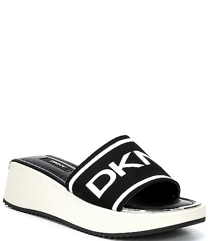 DKNY Mandy Logo Sport Fabric Platform Wedge Slides