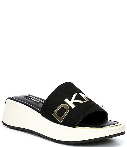 DKNY Mandy Logo Sport Platform Wedge Slides
