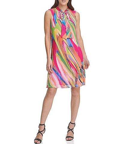 DKNY Micro Pleat Printed Sleeveless Tie Neck Trapeze Dress