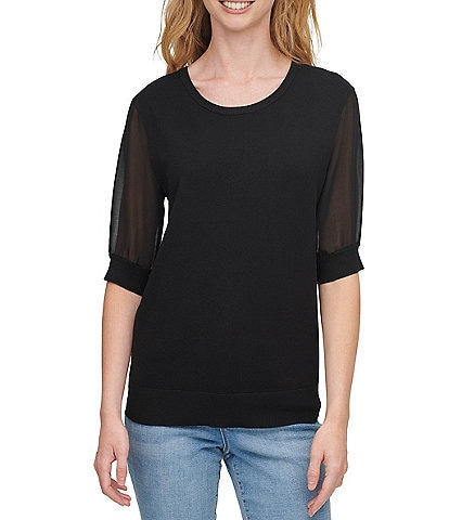 DKNY Mixed Media Chiffon Short Sleeve Scoop Neck Fine Gauge Sweater Knit Top