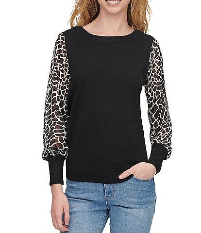 DKNY Mixed Media Giraffe Print Chiffon Long Sleeve Fine Gauge Knit Sweater