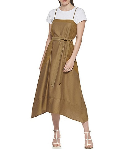 DKNY Mixed Media Square Crew Neck Short Sleeve Tie Waist Belted Cami Dress
