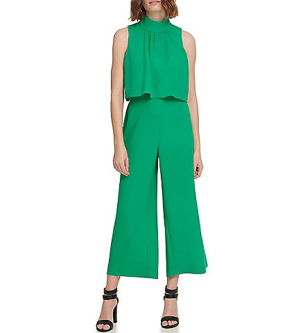 DKNY Mock Neck Sleeveless Crepe Pop Over Crop Jumpsuit