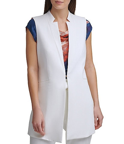 DKNY Notch Collar Side Slit Vest