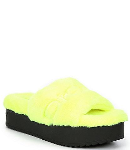 DKNY Palz Signature Logo Faux Fur Platform Slides
