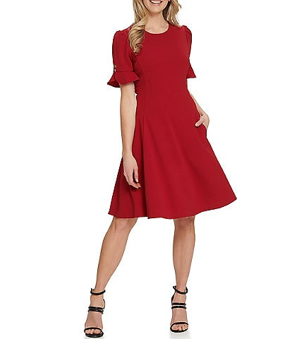 DKNY Puff Sleeve Tulip Cuff Scuba Crepe A-Line Dress with Pockets
