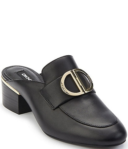 DKNY Rizz Leather Logo Hardware Strap Block Heel Mules
