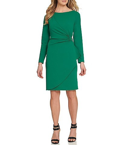DKNY Ruched D-Buckle Long Sleeve Crepe Sheath Silhouette