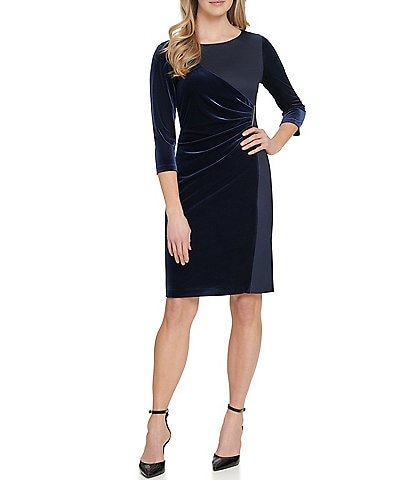 DKNY Ruched Detail Contrast Velvet Crepe 3/4 Sleeve Sheath Dress