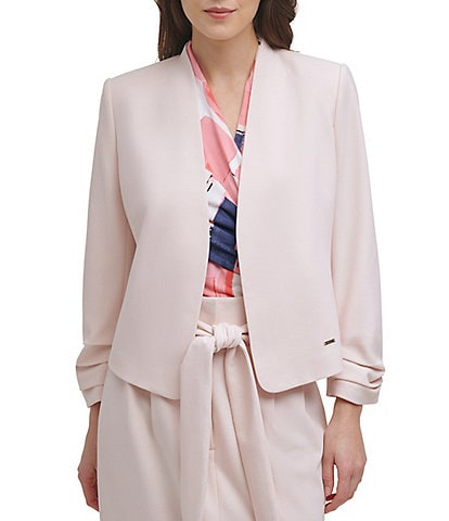 DKNY Ruched Sleeve Open Front Cropped Jacket