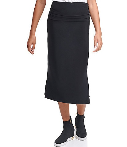 DKNY Ruched Waist Side Slit Hem Straight Midi Skirt