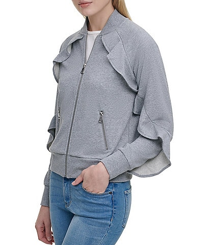 DKNY Ruffle Sleeve Zip Up Long Sleeve Jacket