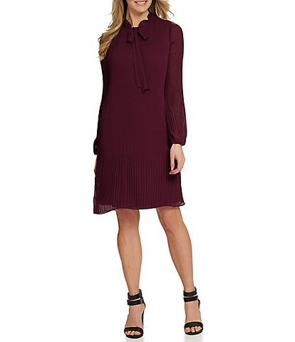 DKNY Ruffle Tie Neck Long Sleeve Pleated Chiffon Shift Dress