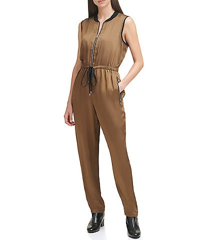 DKNY Satin Contrast Band Collar Exposed Zip Front Drawstring Jumpsuit