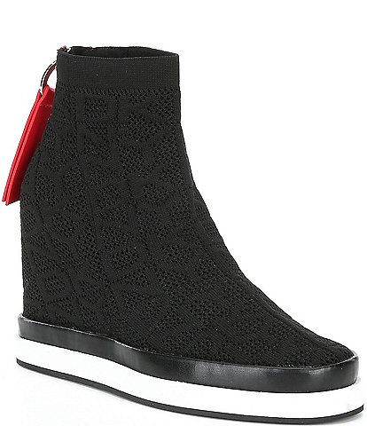 DKNY Sawyer Logo Knit Wedge Sneakers