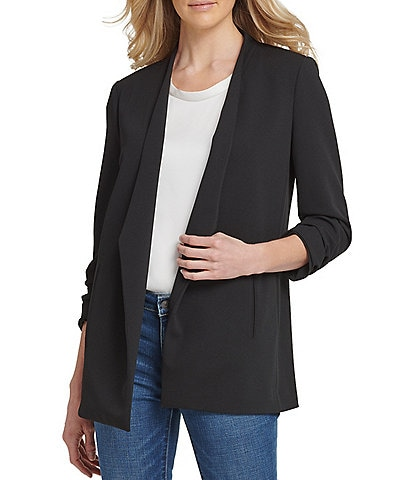 DKNY Scuba Crepe Ruched 3/4 Sleeve Open Front Jacket