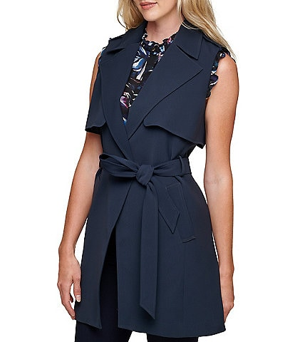 DKNY Self Belted Notch Lapel Vest