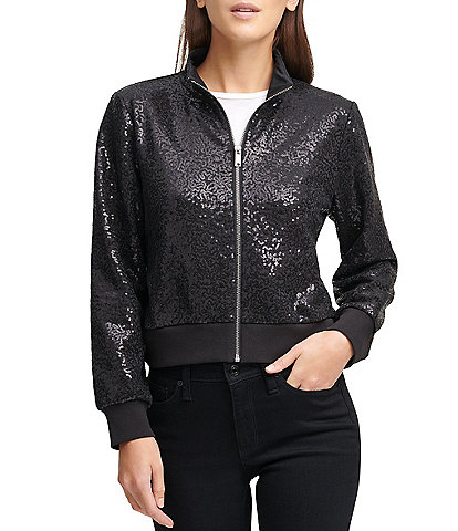 DKNY Sequined Knit Zip-Front Cropped Jacket