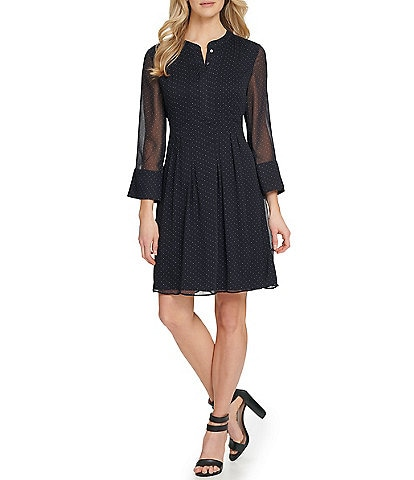 DKNY Sheer 3/4 Sleeve Ditzy Print A-Line Dress