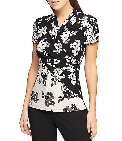 DKNY Short Sleeve Matte Jersey Floral Print Side Ruched Top
