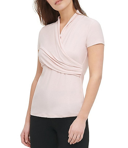 DKNY Short Sleeve Matte Jersey Side Ruched Top
