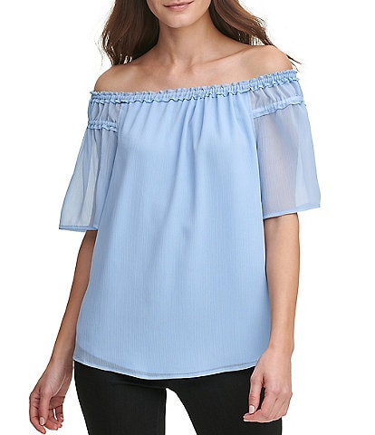 DKNY Short Sleeve Off-the-Shoulder Crinkle Chiffon Top