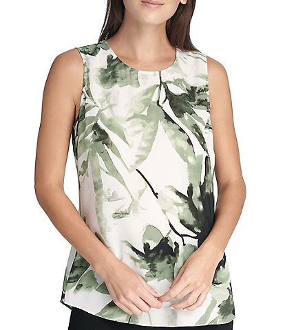 DKNY Sleeveless Basic Tropical Floral Print Tank