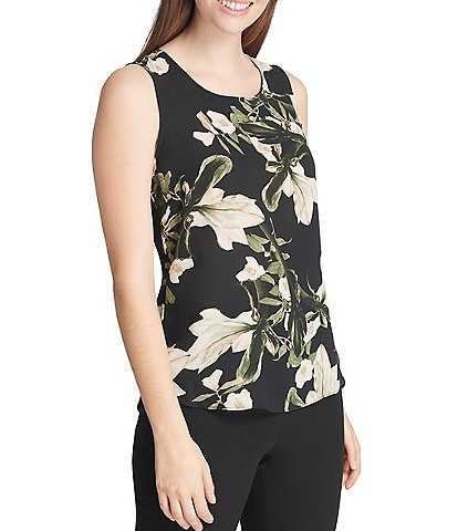 DKNY Sleeveless Scoop Neck Floral Print Tank