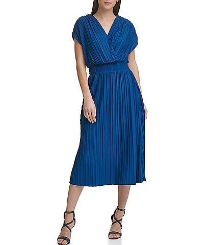 DKNY Smocked Waist V-Neck Dolman Sleeve Pleated Midi Dress