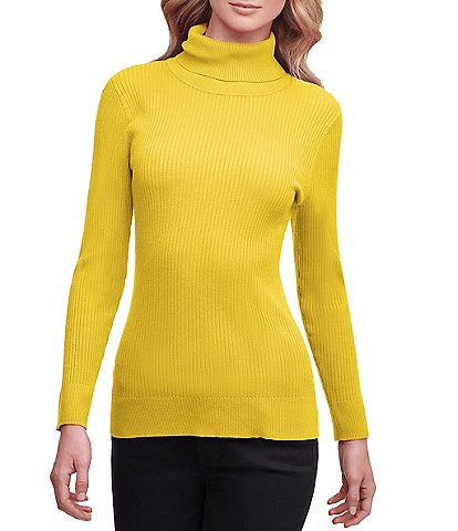 DKNY Solid Ribbed Knit Long Sleeve Turtleneck Top