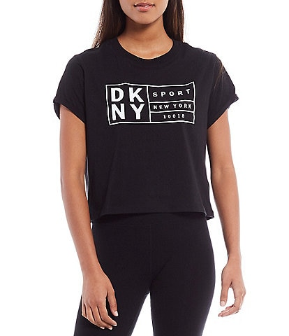 DKNY Sport Box Logo Crop Cotton Tee