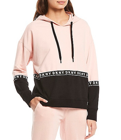 DKNY Sport Boxy Colorblock Hooded Sweatshirt With Logo Taping