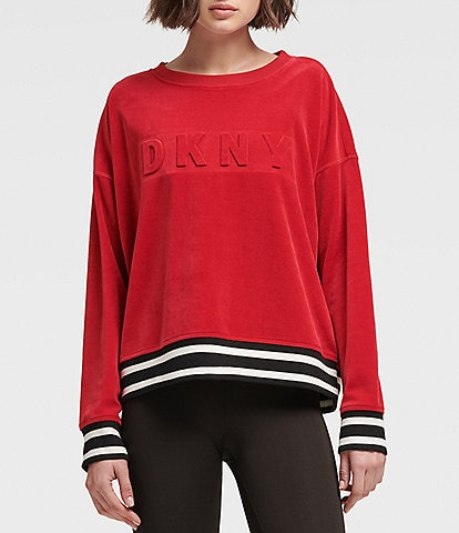 DKNY Sport Boxy Pullover Long Sleeve Velour Sweater