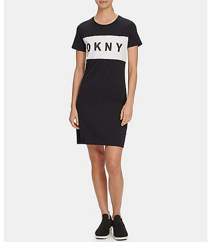 DKNY Sport Colorblock Logo Short Sleeve T-Shirt Dress
