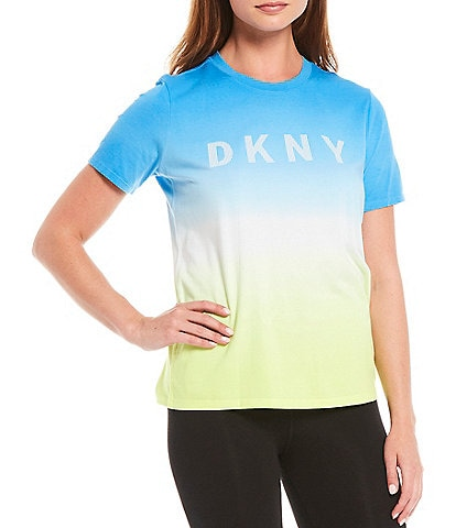 DKNY Sport Dip Dye Tee Cotton Blend Shirt