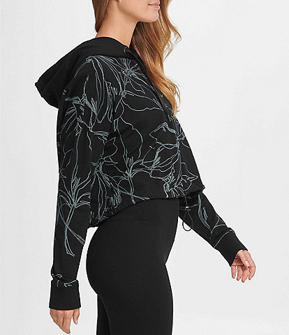 DKNY Sport Etched Floral Print Cropped Cotton Blend Hoodie