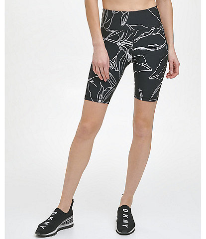 DKNY Sport Etched Floral Print High Waist Pull-On Biker Shorts