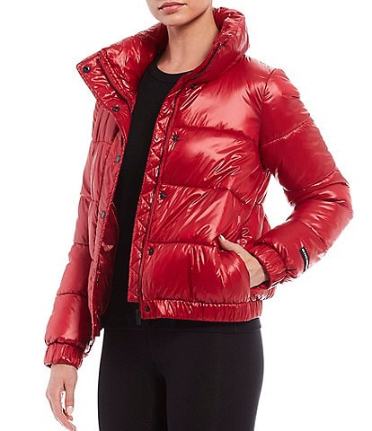 DKNY Sport Funnel Neck Metallic Puffer Jacket