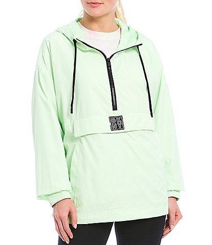 DKNY Sport Half Zip Long Sleeve Pull Over Hooded Anorak Jacket