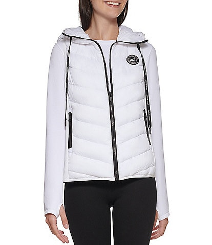 DKNY Sport Hooded Logo Quilted Puffer Zip Front Vest