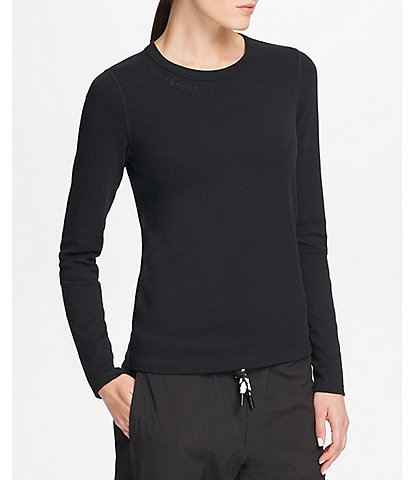 DKNY Sport Knit Jersey Cotton Blend Long Sleeve Logo Embroidered Tee