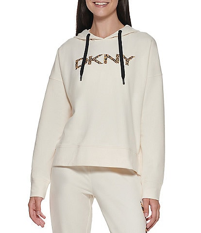 DKNY Sport Leopard Logo Cropped Hoodie Contrast Drawstring Pullover